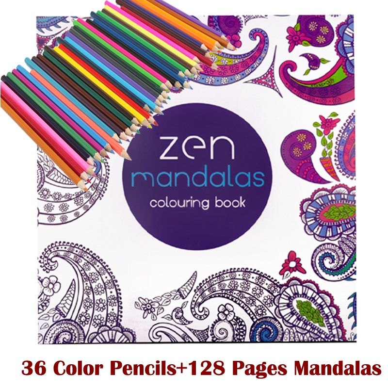 128 adult coloring books +36 color pencil Relieve Stress Kill Time ...
