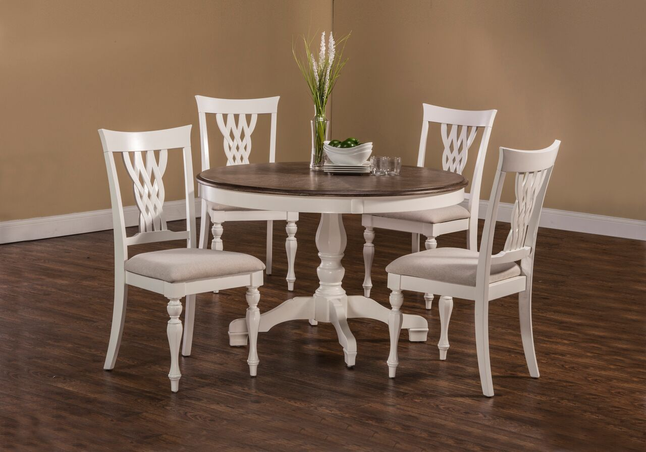 Hillsdale pc bayberry embassy whitedriftwood round dining table