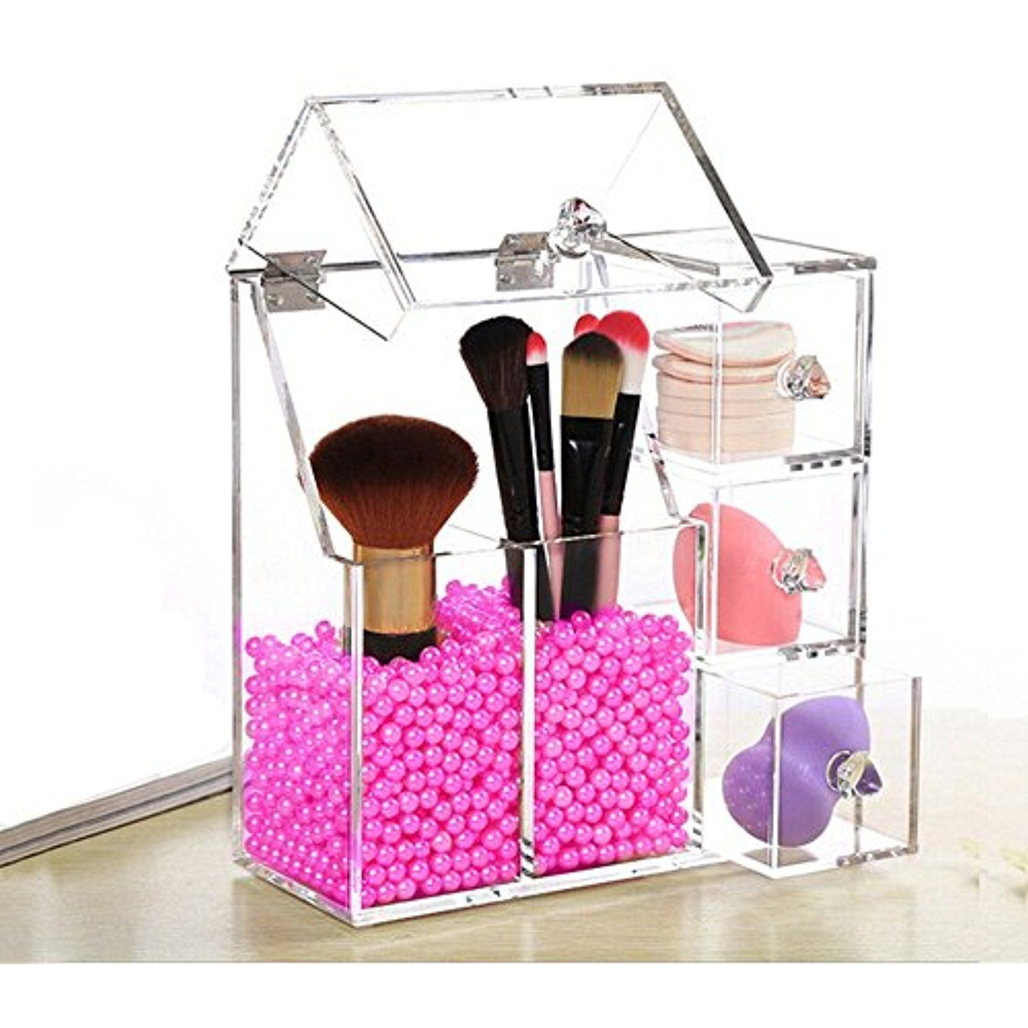 FLYMEI Dust Free Acrylic Makeup Organizer With Free Glossy Rosy