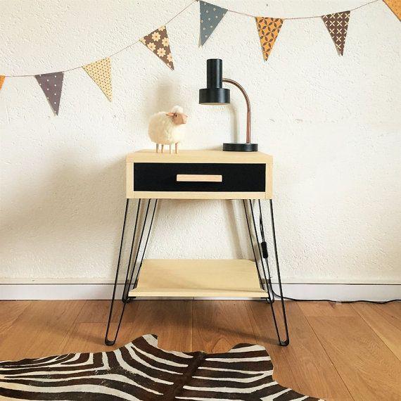 table de chevet scandinave et vintage table de nuit gu ridon bois et m tal coloris noir. Black Bedroom Furniture Sets. Home Design Ideas