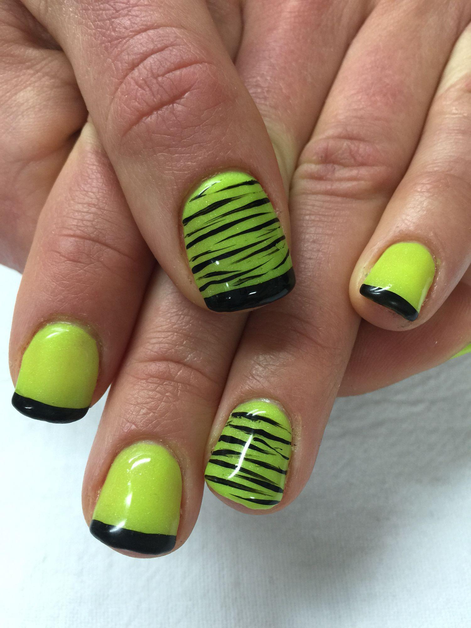 Wild, Glow in the dark neon yellow, black with zebra accented gel ...
