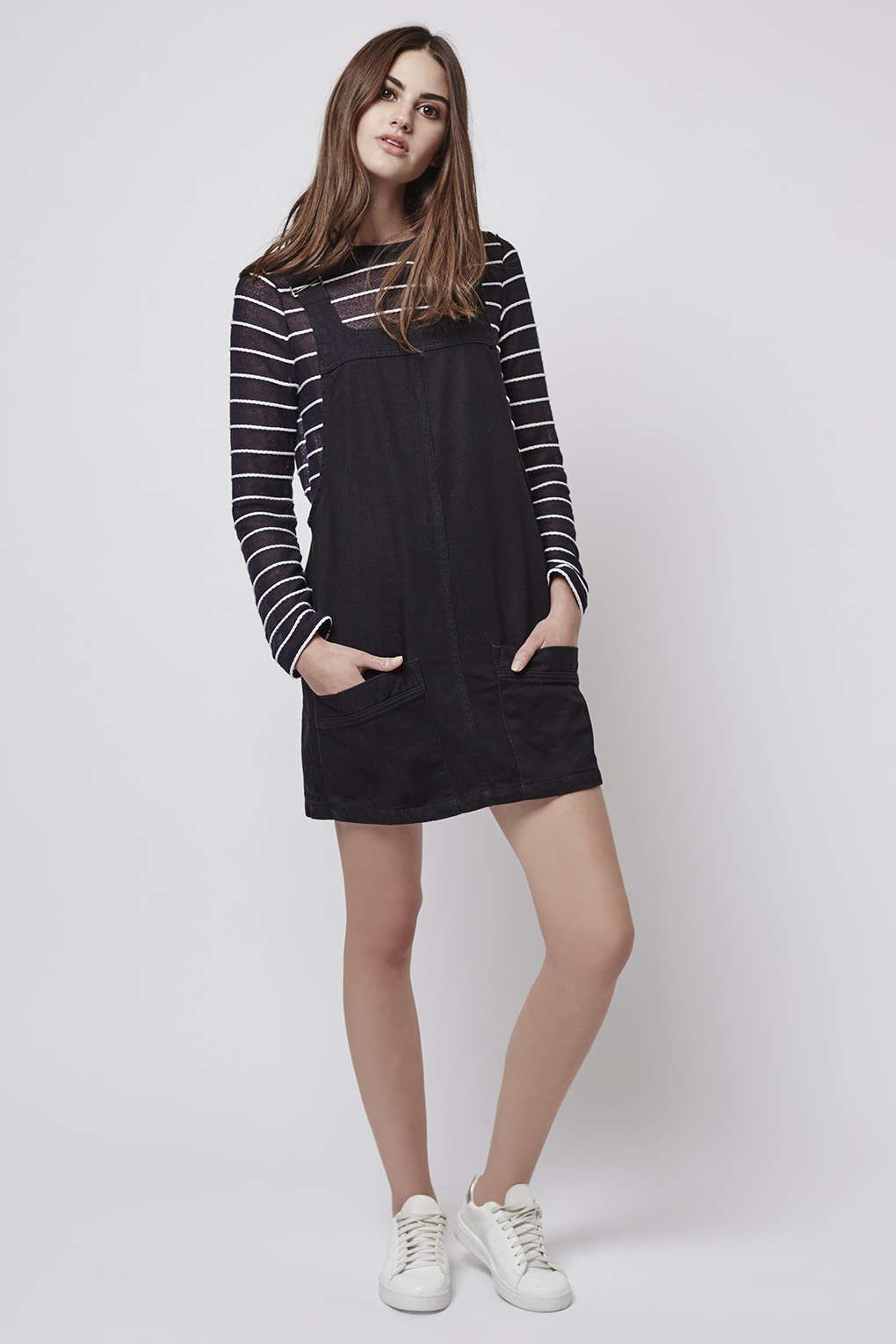 Petite denim pinafore dress new in fashion new in topshop