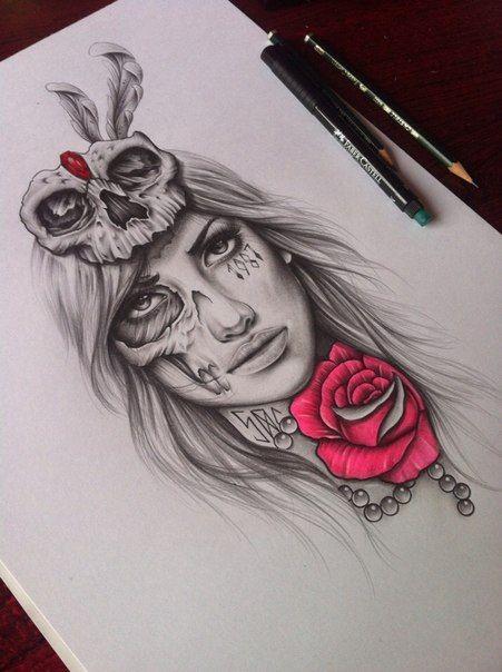 Skull Girl By Edwardmiller On Deviantart Sugar Skull Tattoos Tattoo Illustration Tattoo Drawings