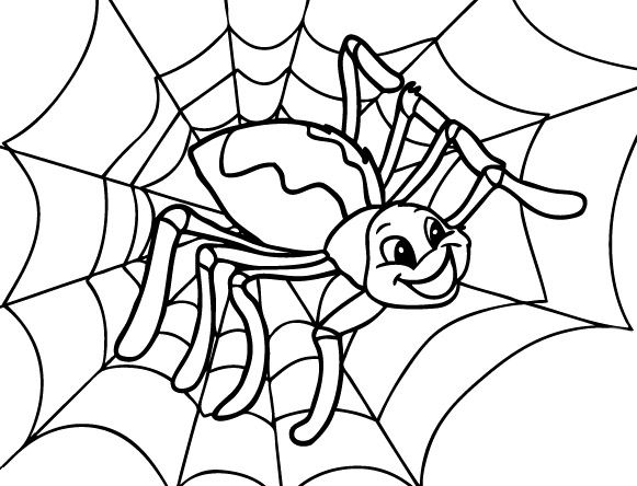Happy Spider Coloring Page Cute