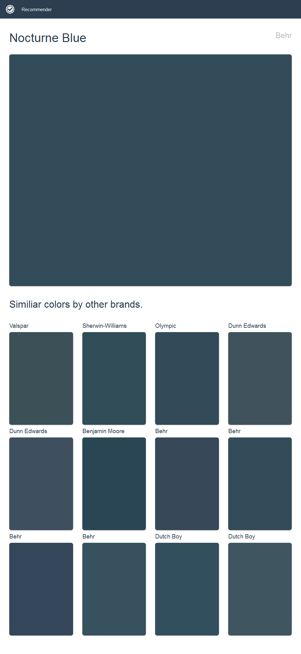 Nocturne Blue Behr Click The Image To See Similiar Colors By Other Brands