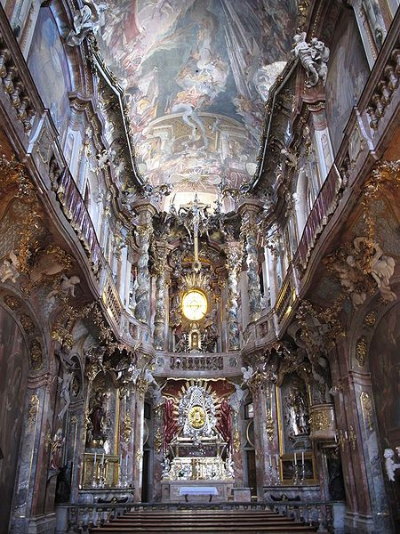 The ceiling of this Rococo church (Asamkirche) of Munich