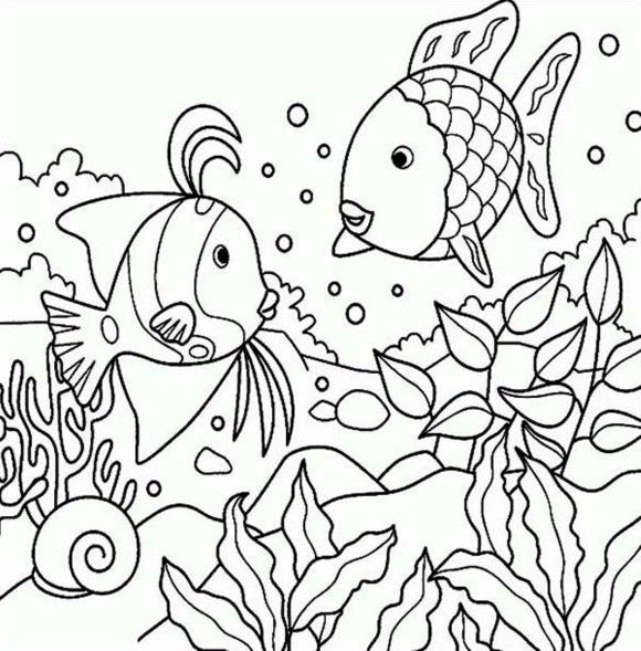 rainbow fish coloring pages of sea animals | Coloring: Animals ...
