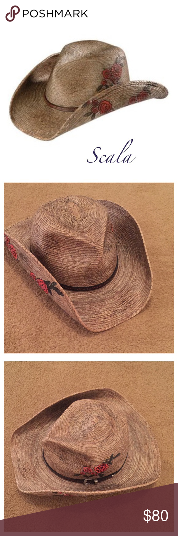 8e428712969b3 Scala Straw Cowboy Hat Hard to find Scala cowboy straw hat with roses size  L