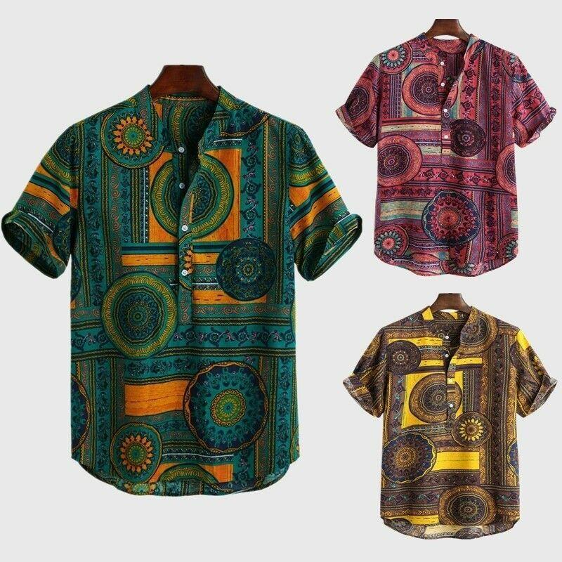 Homme Ethnischer Style Fleurs Retro Chemise Button Down A Manches Courtes Chemise Homme Idees De Chemise Homme Casual Long Sleeve Shirts Mens Tops Shirts