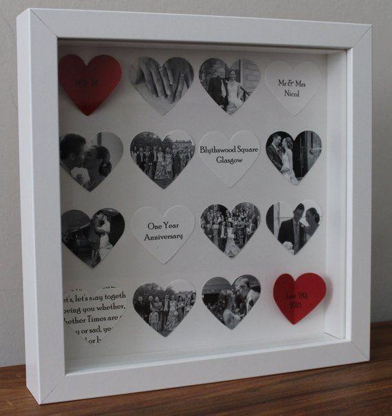 Personalisierte Jahrestagsgeschenk. Maßgeschneiderte 16 Herz Jubiläum Rahmen. 3D Foto-collage Herzen können mit Text, Fotos oder Bilder personalisiert werden Bild kommt in einem schönen weißen oder schwarzen Box Rahmen misst 23 x 23 cm. Box-Rahmen an der Wand aufgehängt werden oder