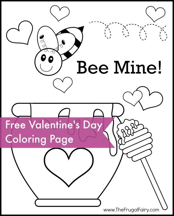 Bee mine valentines day coloring page your little valentine will love this fun