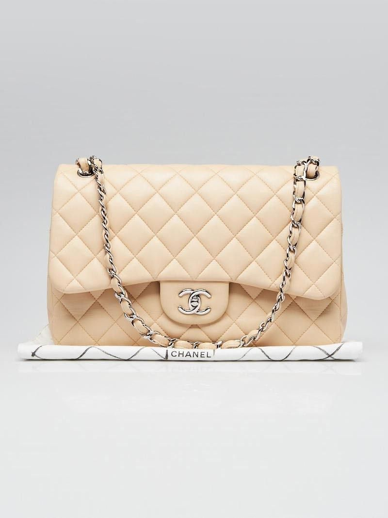 217bc724bc7146 Chanel Beige Quilted Lambskin Leather Classic Jumbo Double Flap Bag -  Yoogi's Closet #Chanelhandbags