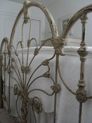 beautiful painted vintage iron bed at burlap luxe