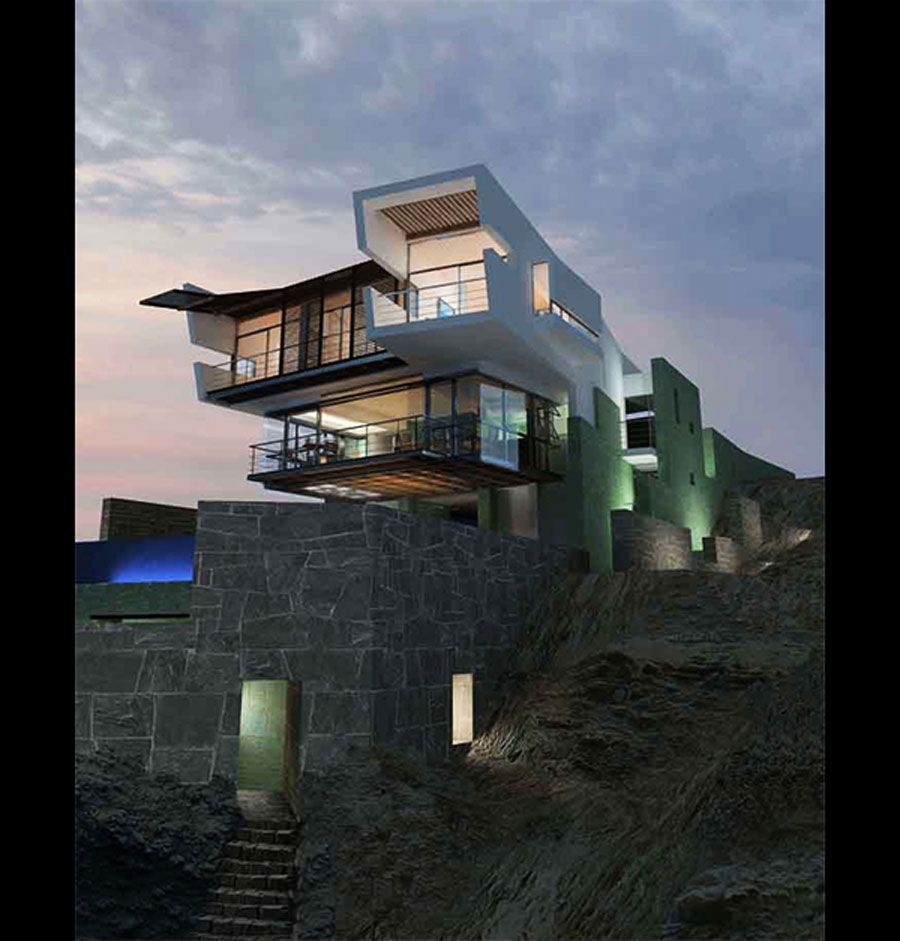 Modern Architecture Beach House modern beach house on top sea cliff view - real estate - houses