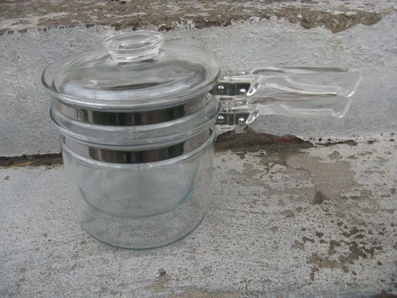 Pyrex flameglo clear glass double boiler bamborine mid century