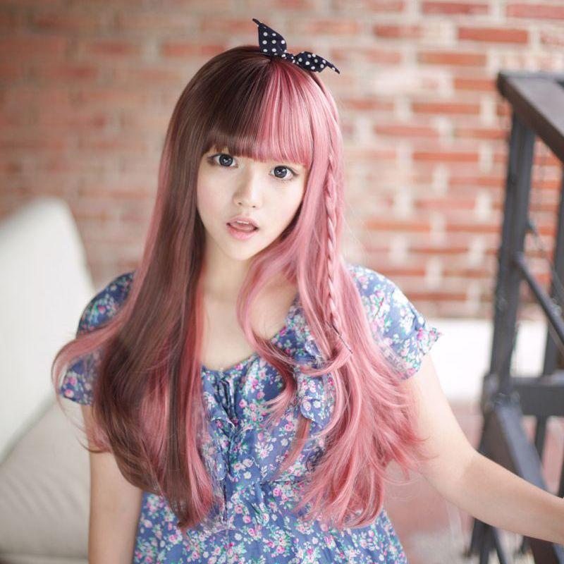 Kawaii Person Half Brown Half Pink Hair D Long Hair Wigs Long Hair Styles Pink Hair