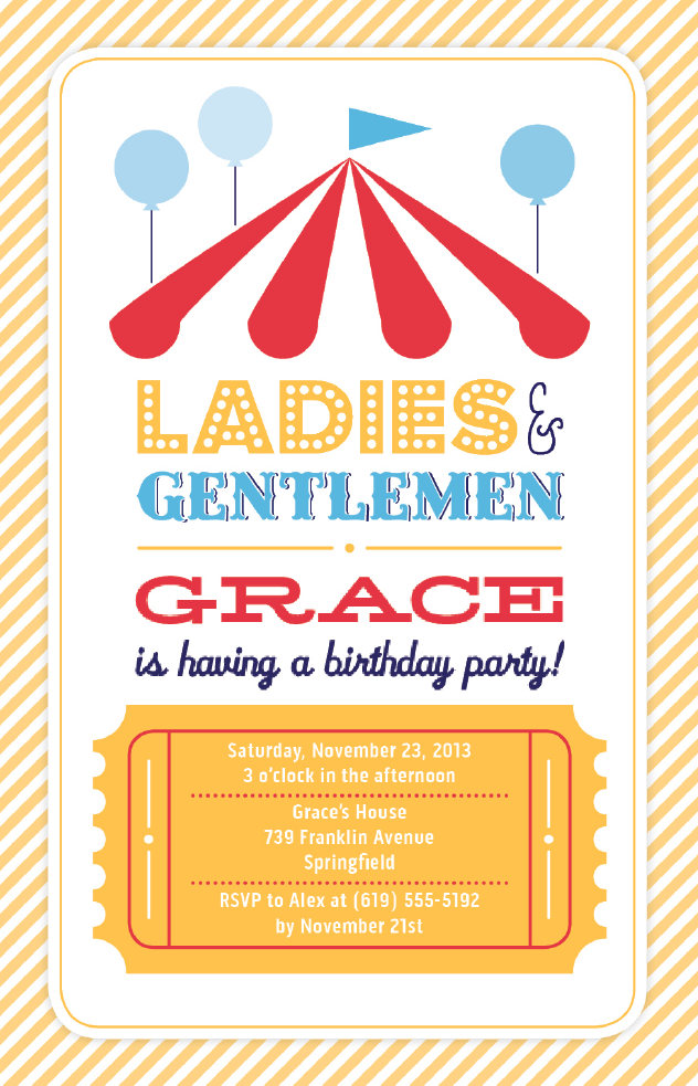 Circus Birthday Party Invitation Vistaprint – Vista Print Birthday Party Invitations