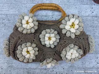 Häkeltasche   Crochet bag   Lily Pad Hexagon Grannys