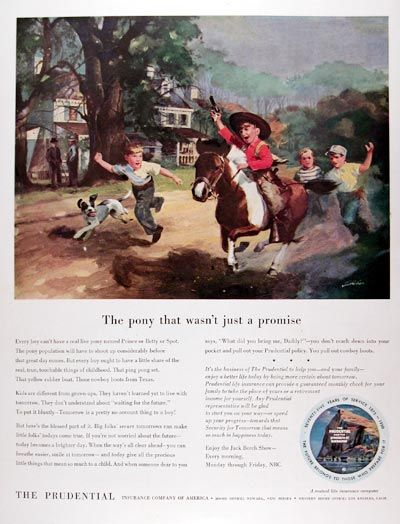 1950 Prudential Life Insurance Original Vintage Ad