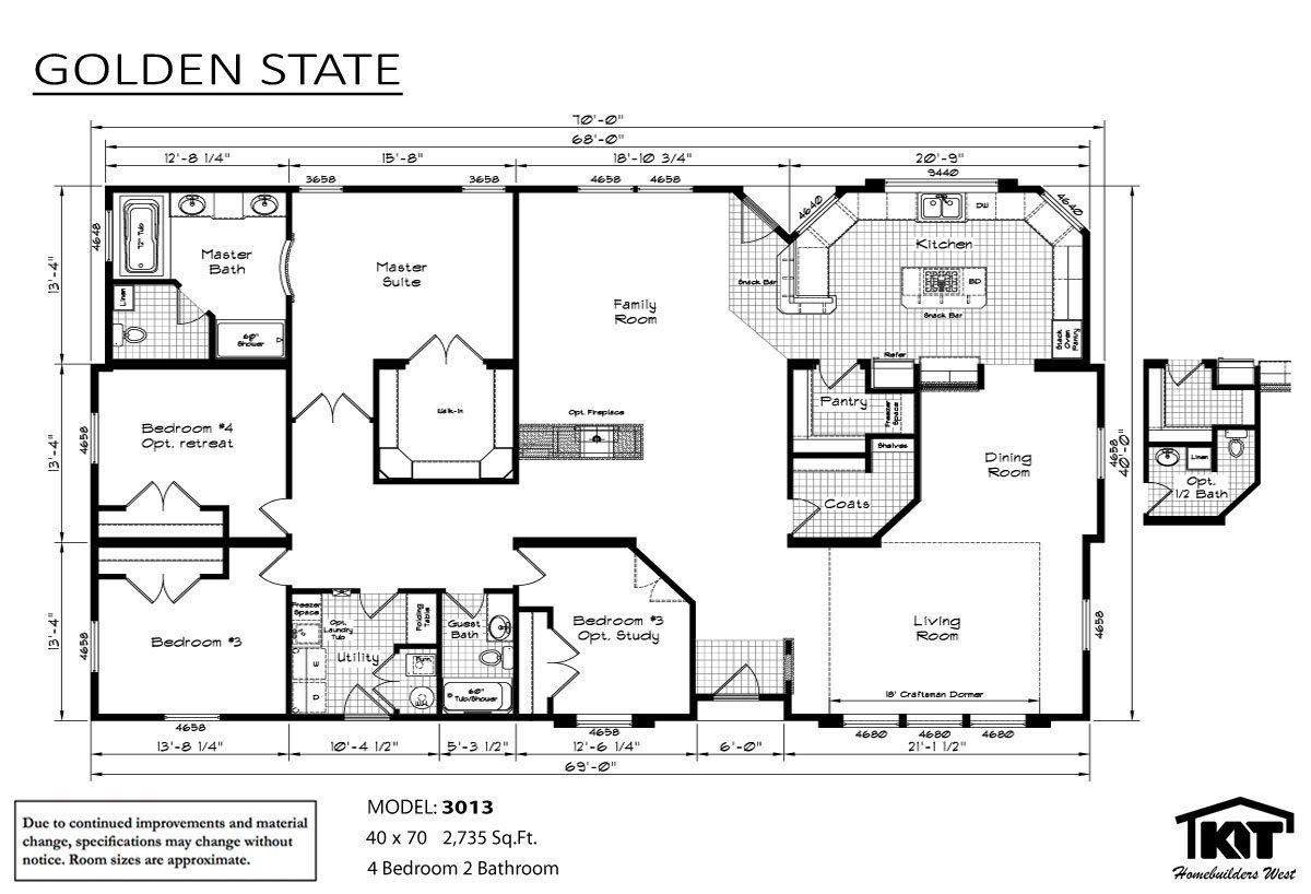 Golden State 3013 Layout House Floor Plans Prefab Homes Floor Plans