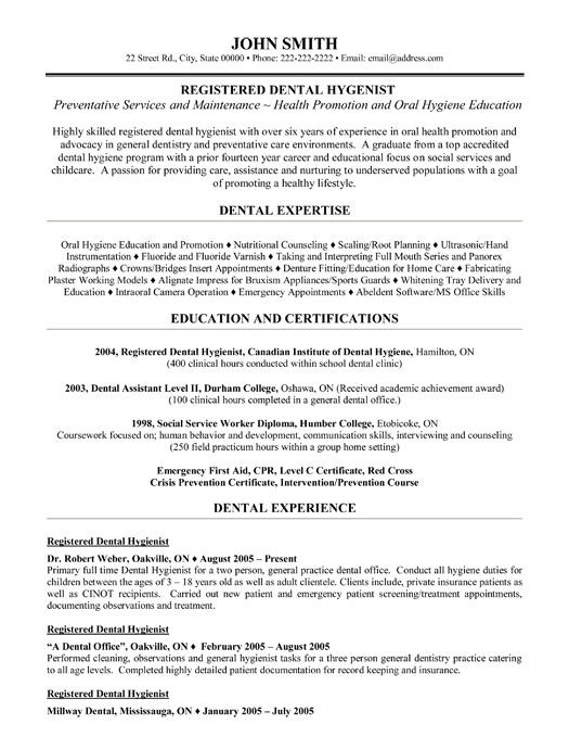 Dental Resume Template Registered Dental Hygienist Resume Template  Premium Resume