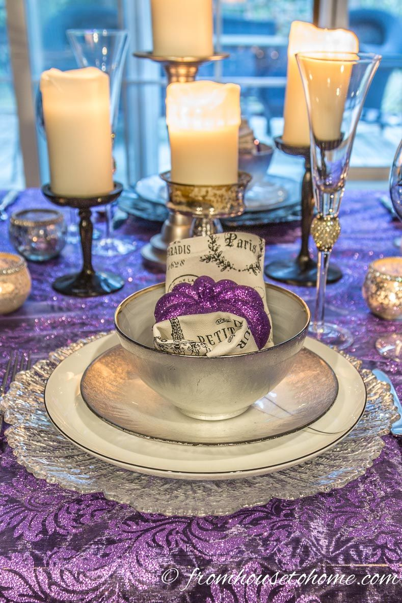 Elegant Purple And Silver Thanksgiving Tablescape Thanksgiving Table Decorations Diy Christmas Table Thanksgiving Table Settings
