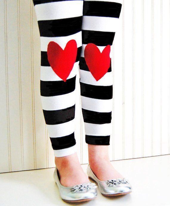 4208ee8c5990b Girls Heart Knee Patch Striped Leggings, Valentines Leggings ...