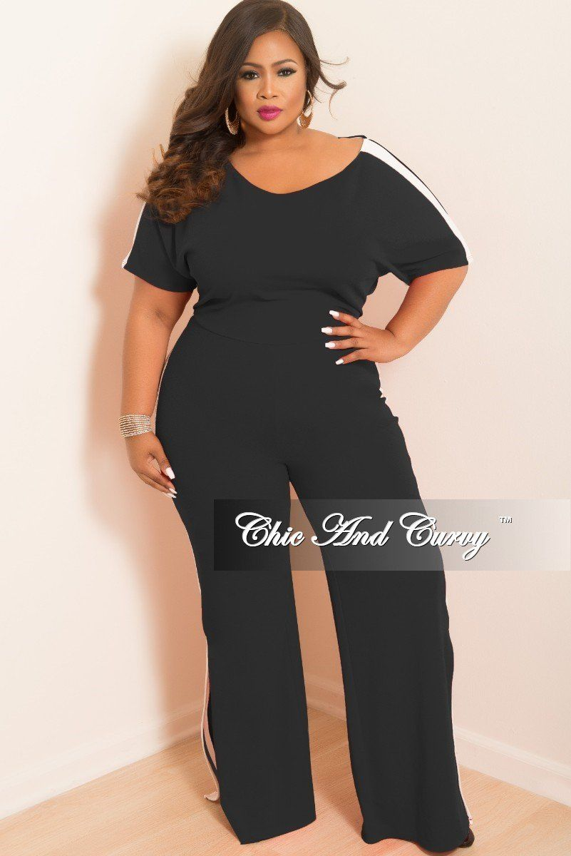 0ed1752d03c2 Plus Size Wide Leg Jumpsuit with Bottom Slits and White Trim – Chic And  Curvy