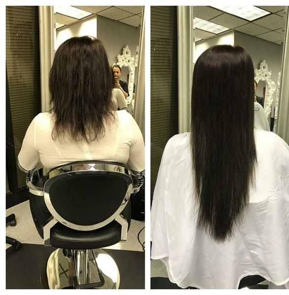 Brown Hair Extensions Applied With Fusion Hair Method Available In