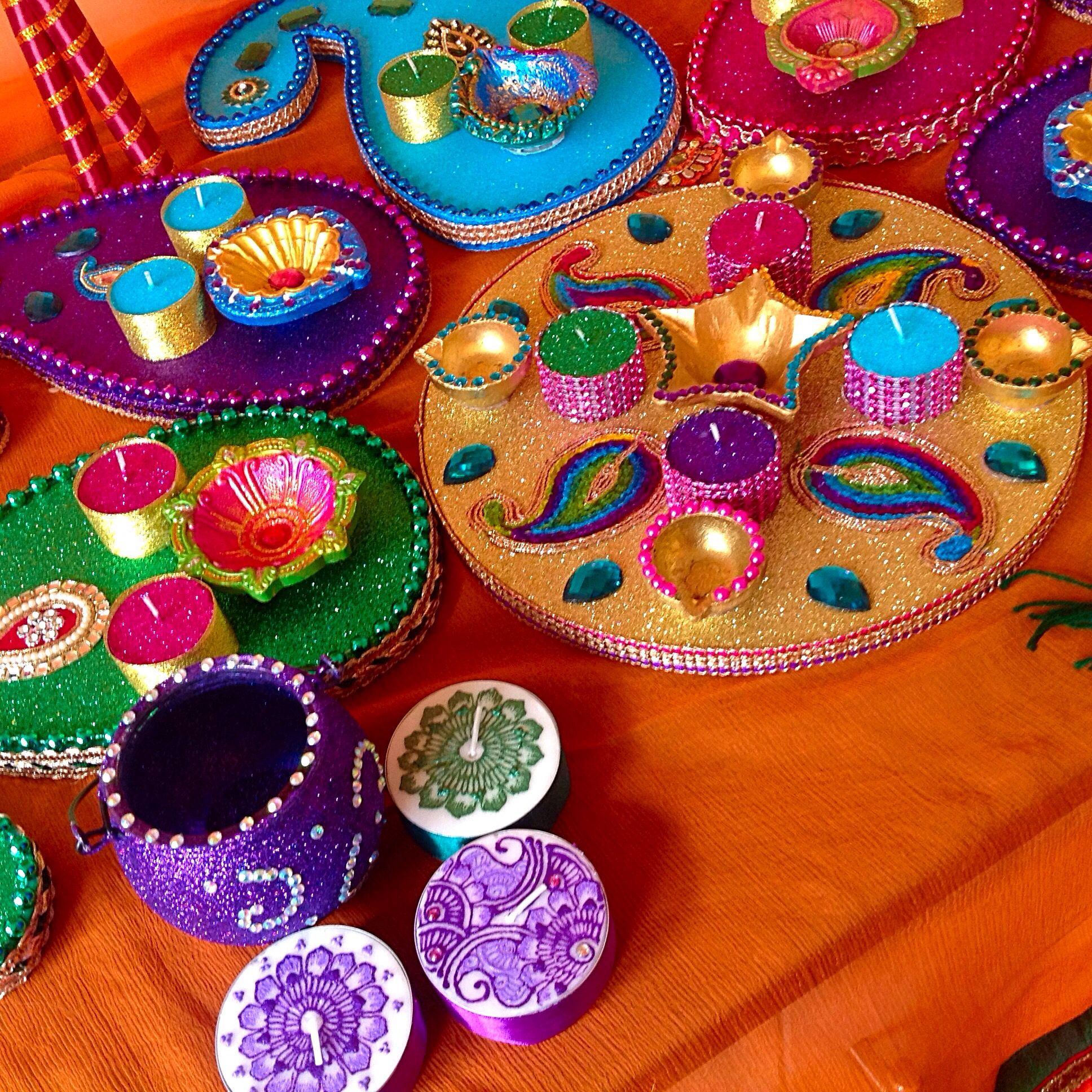 Mehndi Decoration Simple : Mehndi plates by lesley rizvi at trays for fun see