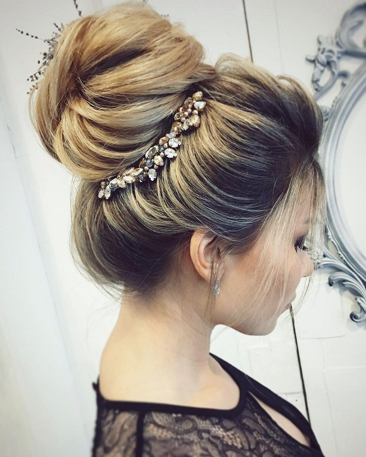 Pretty Wedding Updo Hairstyle For Every Type Of Bride Bun Hairstyles Wedding Hairstyles Prom Hair Updo Wedding Hair Inspiration