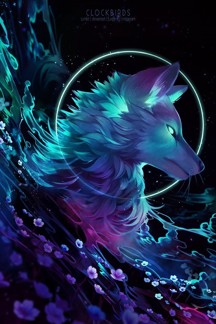 "fantasyartfinds:""By clockbirds""💜💜💜💜   Anime wolf, Animal"