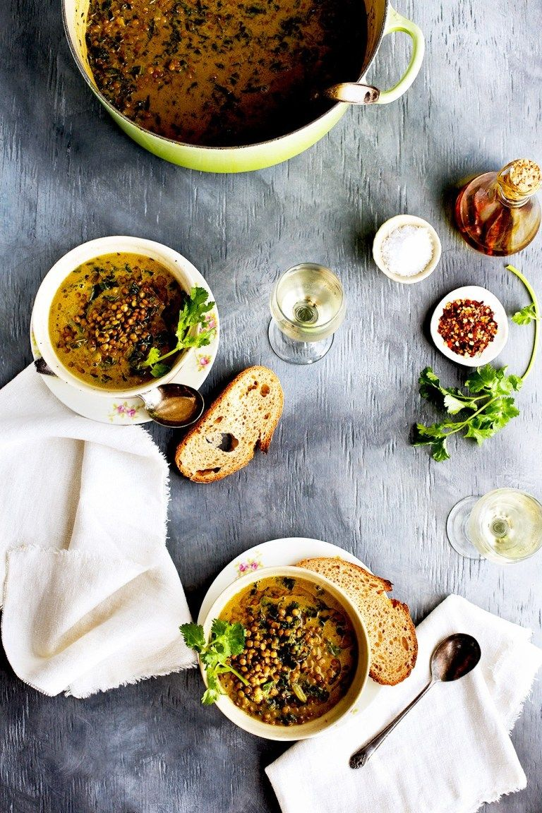 Coconut Basil French Green Lentil Soup