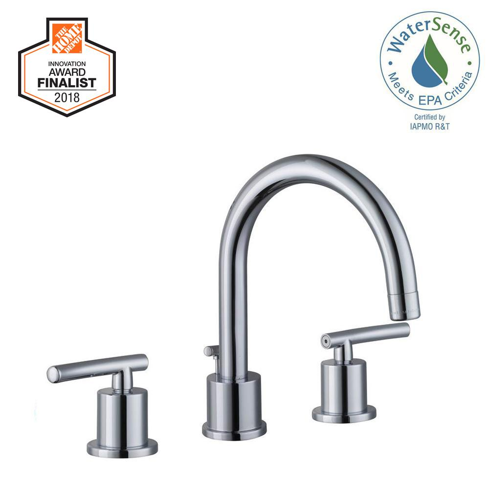 Glacier Bay Dorset 8 In Widespread 2 Handle High Arc Bathroom Faucet In Chrome 67731w 6001 The Home Depot High Arc Bathroom Faucet Bathroom Faucets Faucet