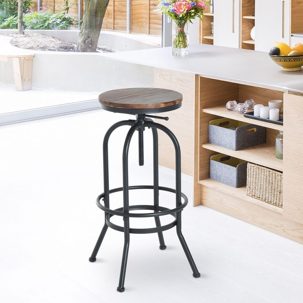 Swell Swivel Bar Stool Brown Natural Pine Wood Seat Black Metal Gmtry Best Dining Table And Chair Ideas Images Gmtryco