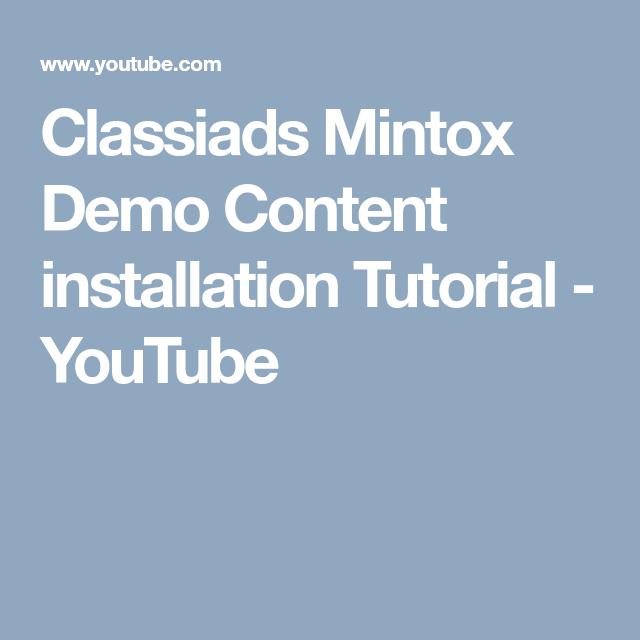 Classiads Mintox Demo Content installation Tutorial - YouTube ...