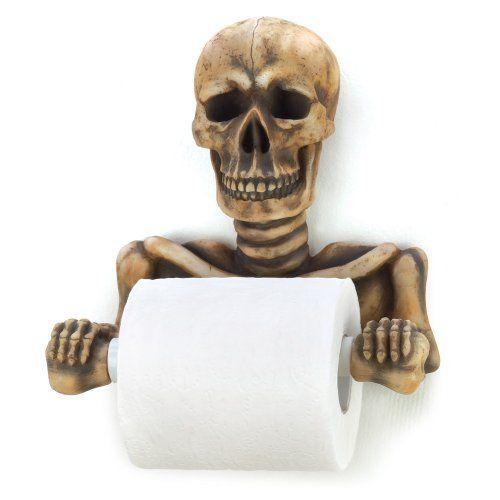Y Skull Toilet Paper Holder Skeleton Gothic Bath Decor New