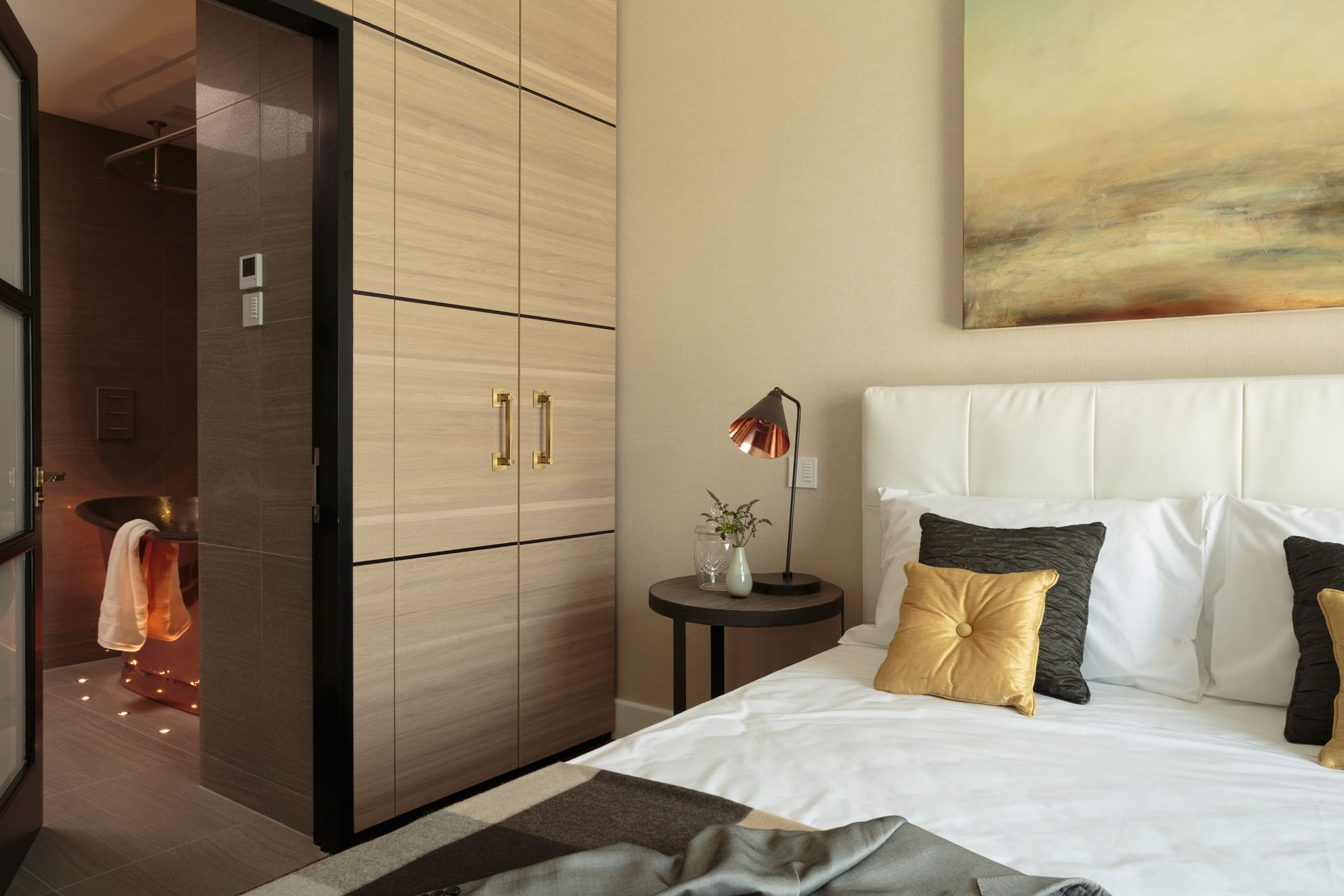 Storage Space As Separating Idea Bedroom Design Apartment Design Open Plan Bathrooms