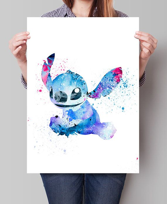 Disney Lilo and Stitch Watercolor Poster Print, Watercolor Painting ...