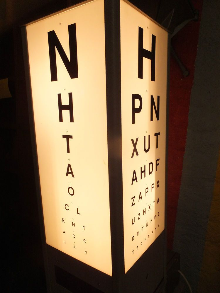 Vintage Rotating Illuminated Snellen Eye Test Chart Opticians Light