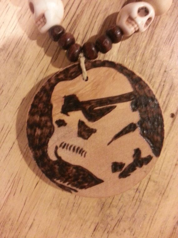 Stormtrooper wood burned pendant and beaded by PaintingsThatPop