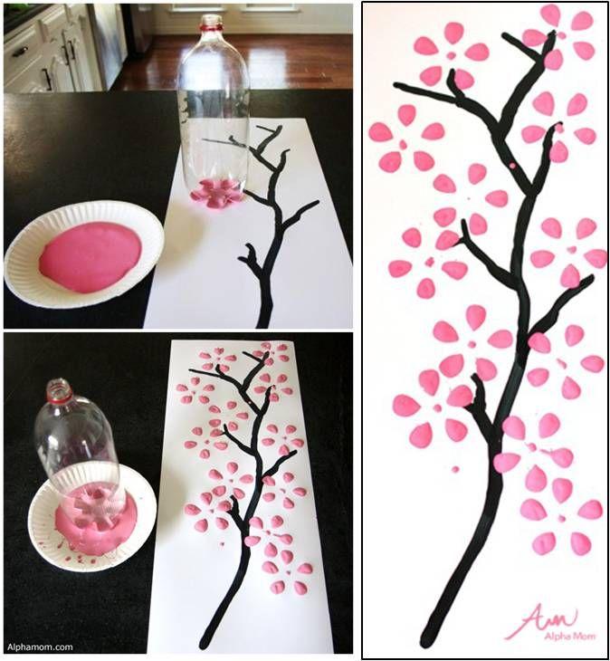 Dibujando hermosos cerezos en flor gracias a una botella de
