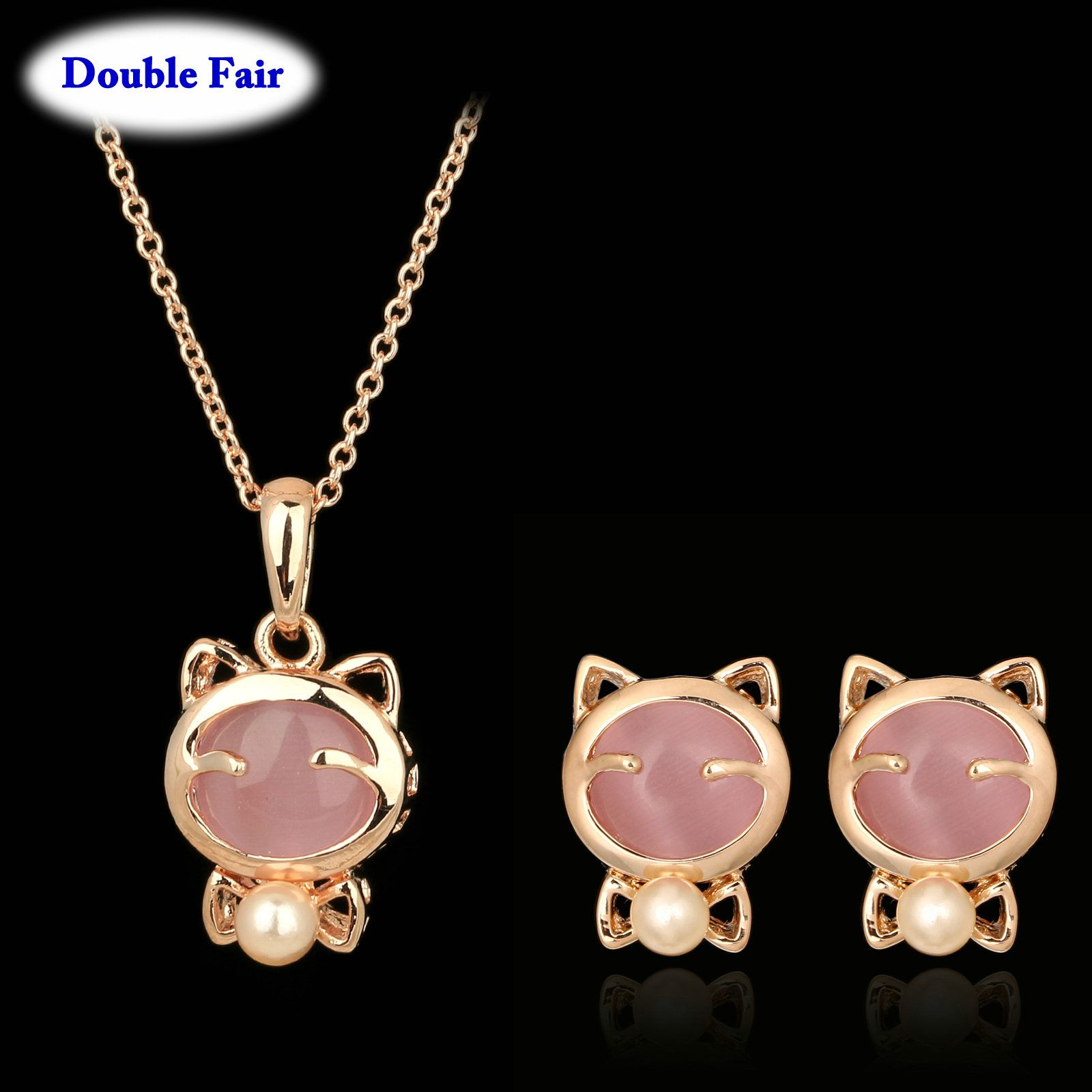 Lovely cat pink semiprecious stone rose gold color earring necklace