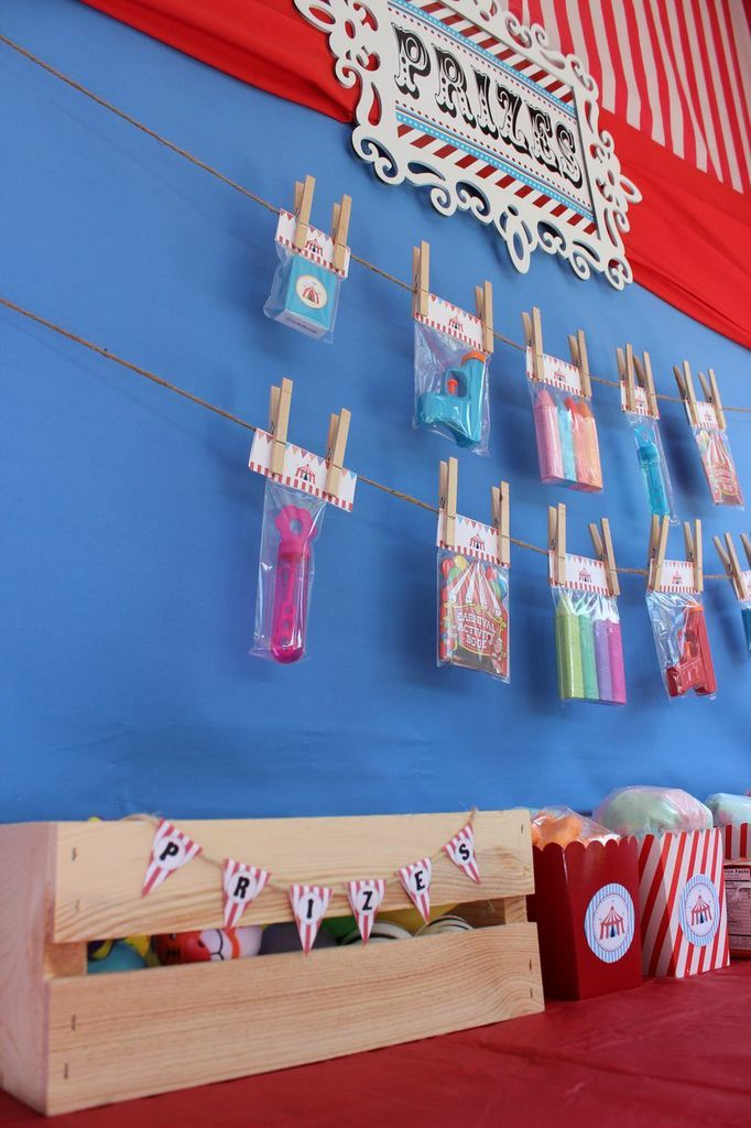 Carnival Party Prize Table. Bigger prizes will hang on display ...