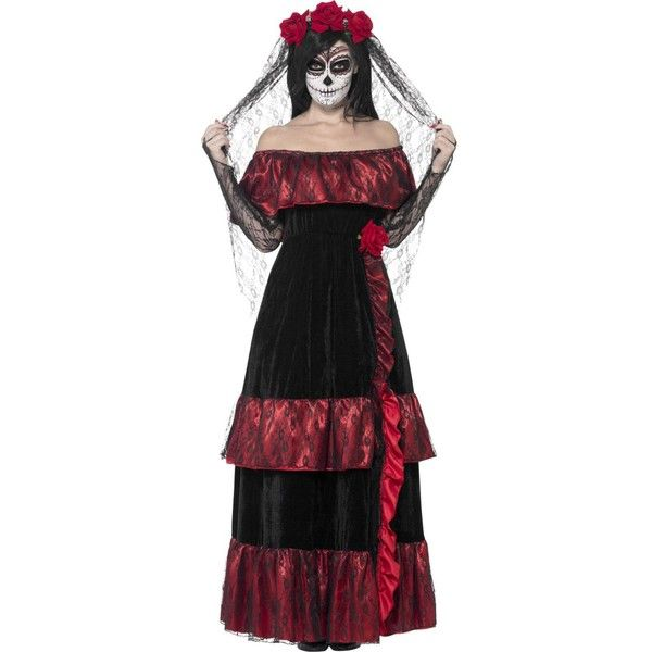 Adult Womens Mexican Day Of The Dead Bride Wedding Fancy Dress Halloween Costume