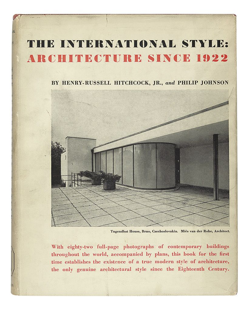 Hitchcock, Henry-Russell; and Philip Johnson. The International Style: Architecture Since 1922.   New York: W. W. Norton and Co., (1932)