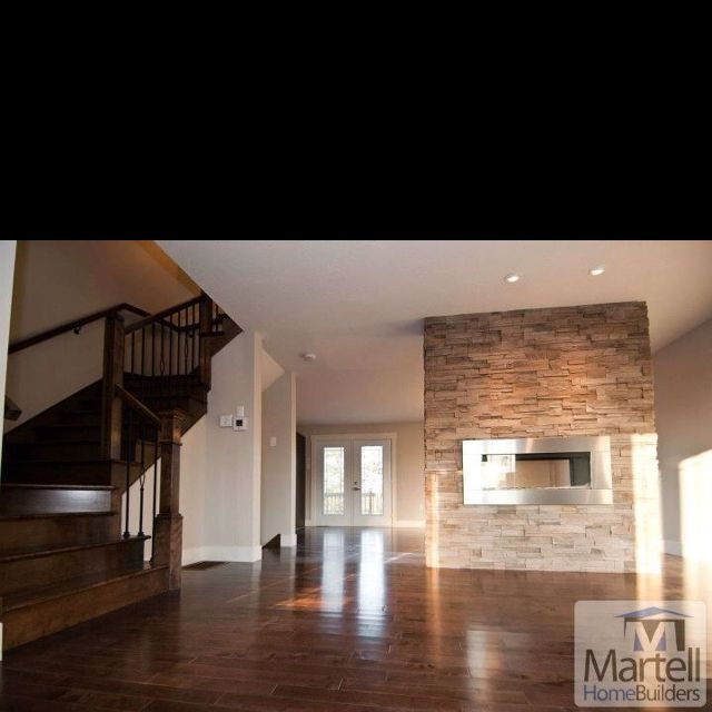 Open concept. Two way fireplace on the right