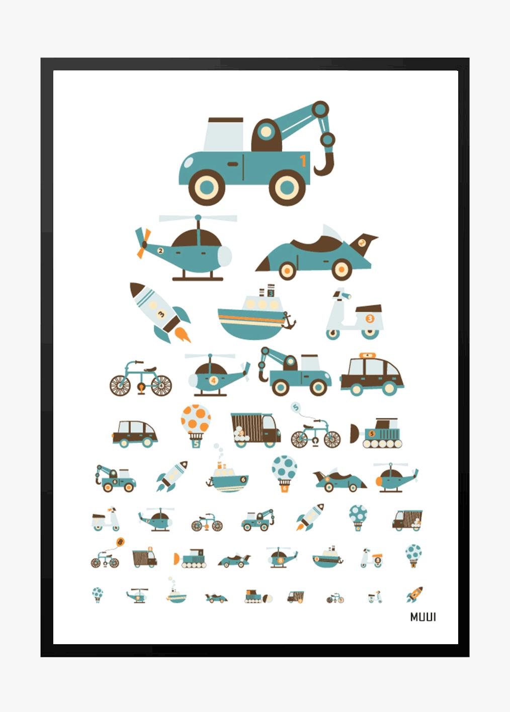 Børneplakat synstavle med cykler, biler, raketter | Cykler, Biler og Børneværelse