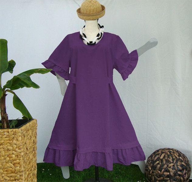 A-Form Kleid/Rüschen,Grössen 48-64,Leinen lila von HKB-Dress auf DaWanda.com