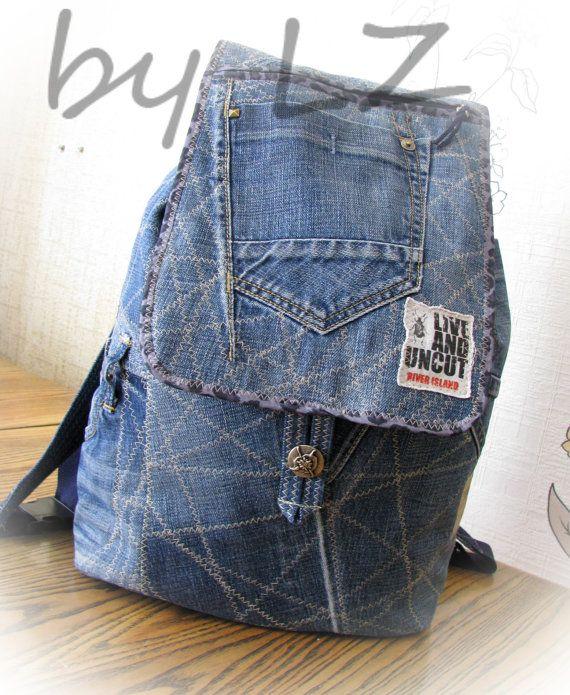 Jeans Backpack,denim Backpack, Rucksack,handmade Patchwork